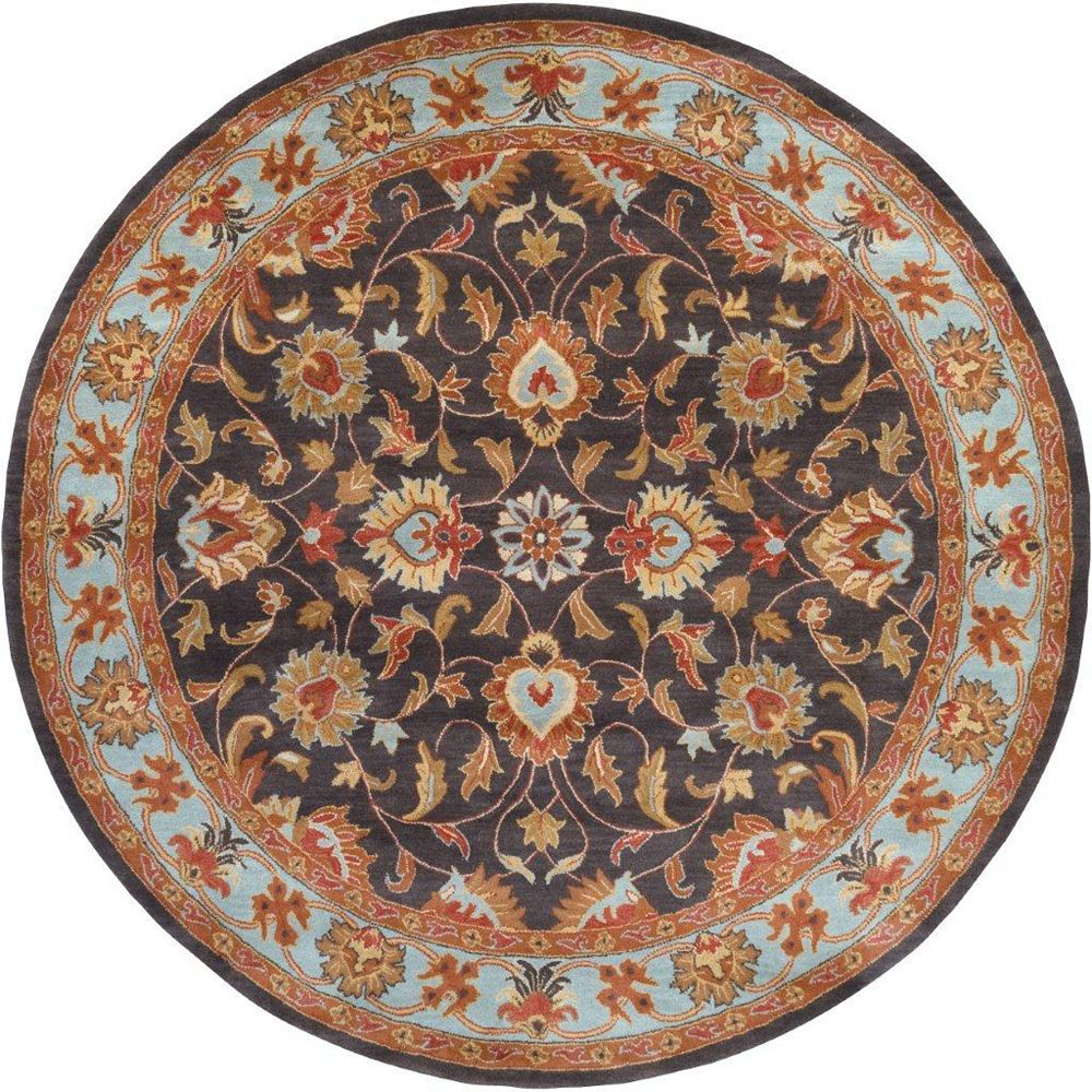Artistic Weavers Carpette d'intérieur, 8 pi x 8 pi, style transitionnel, ronde, gris Benicia