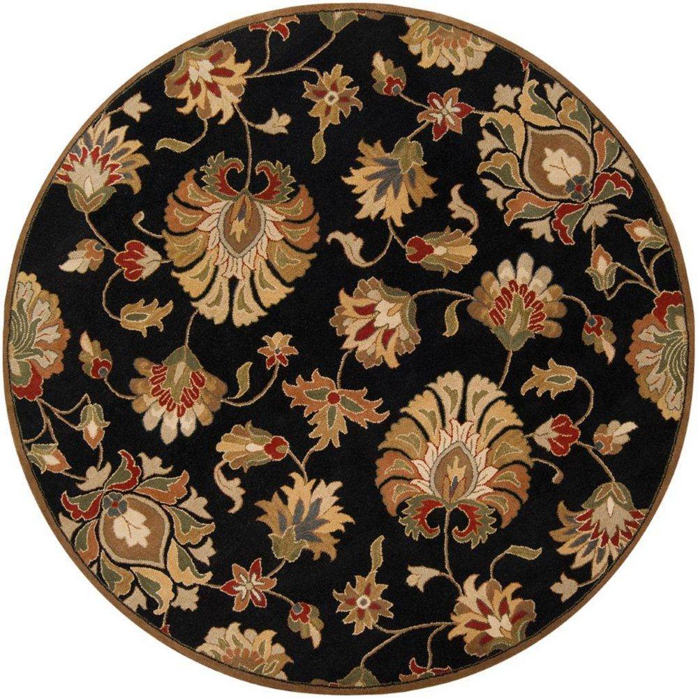 Artistic Weavers Carpette d'intérieur, 8 pi x 8 pi, style transitionnel, ronde, noir Burbank