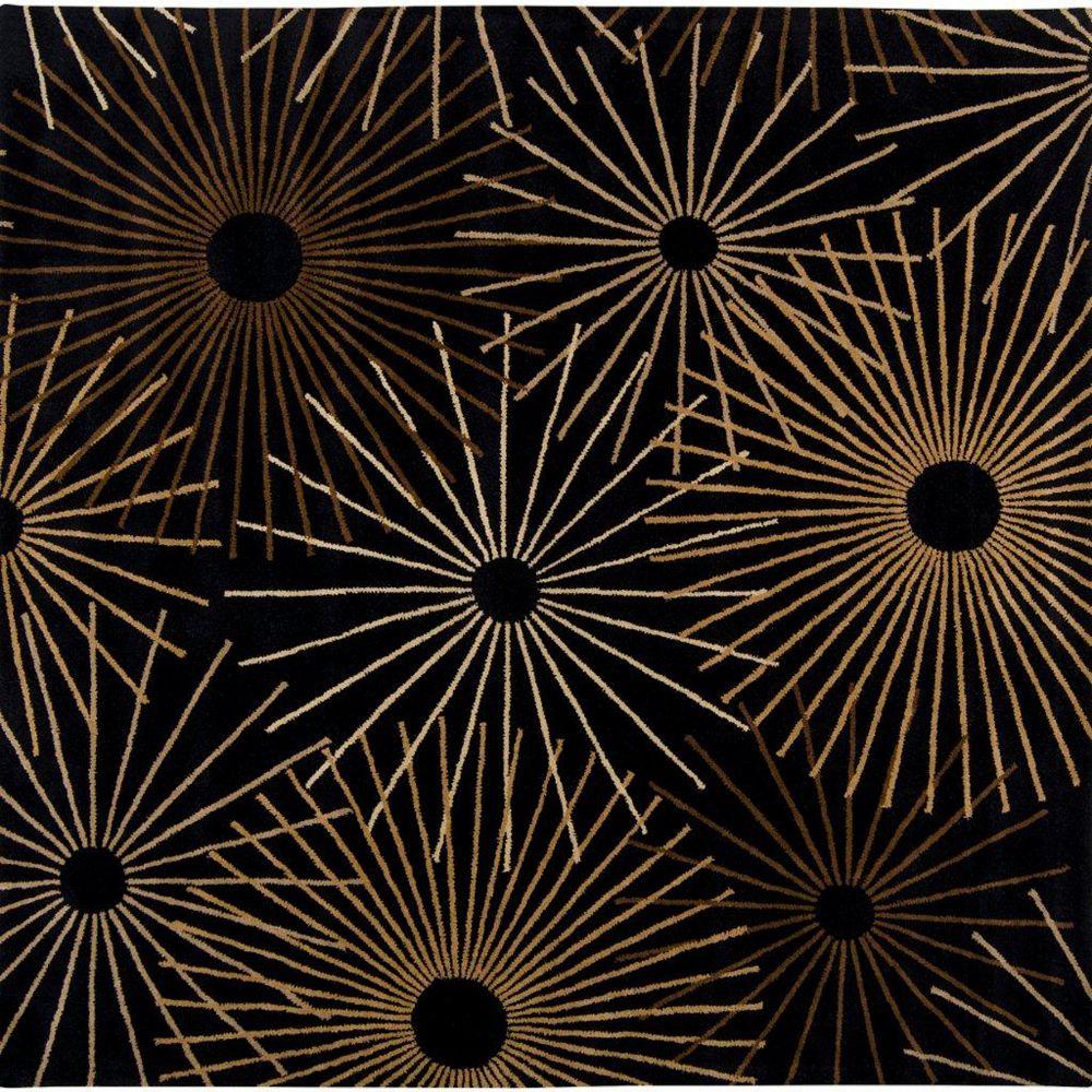 Artistic Weavers Carpette d'intérieur, 9 pi 9 po x 9 pi 9 po, style contemporain, carrée, noir Rannee