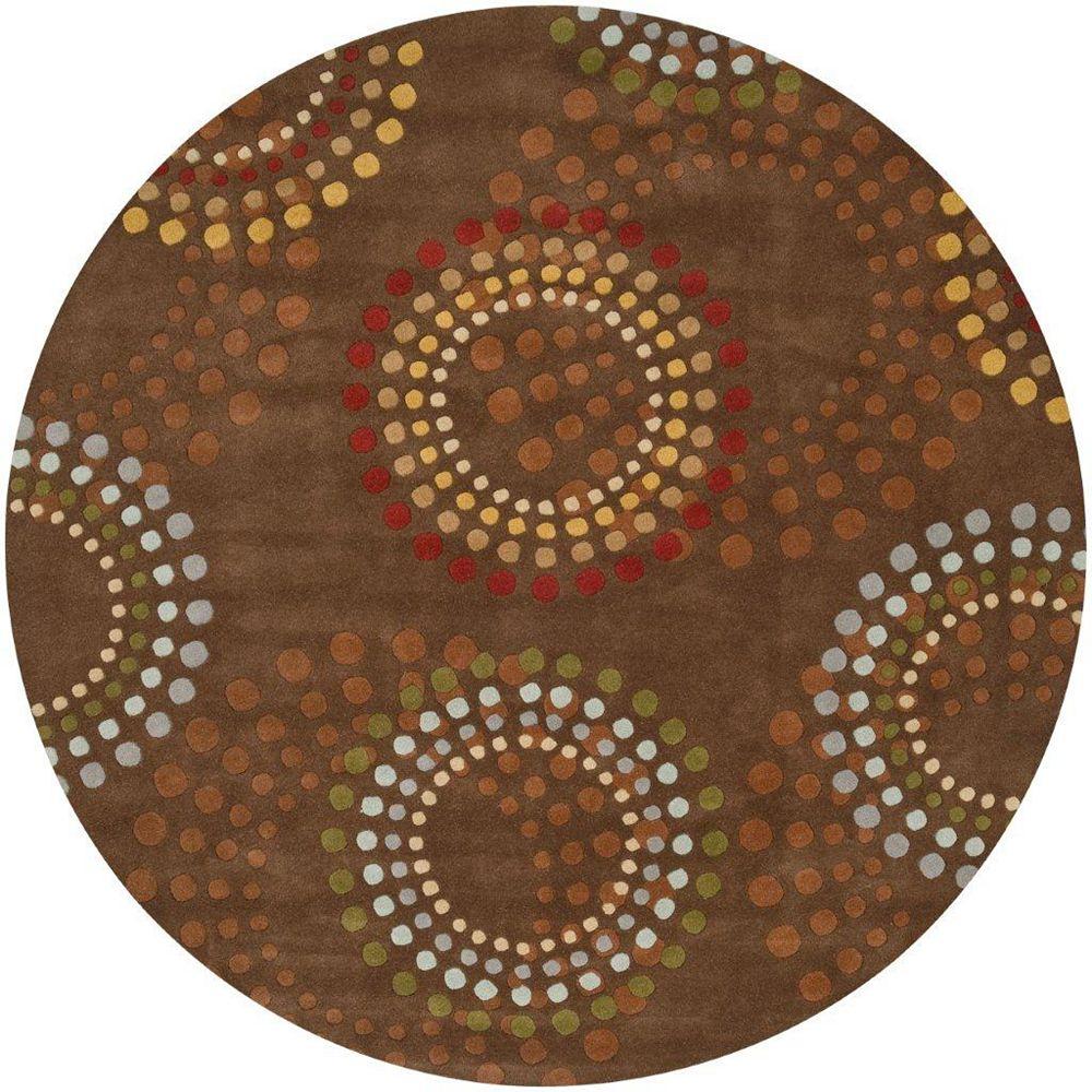 Artistic Weavers Carpette d'intérieur, 9 pi 9 po x 9 pi 9 po, style contemporain, ronde, brun Rantigny