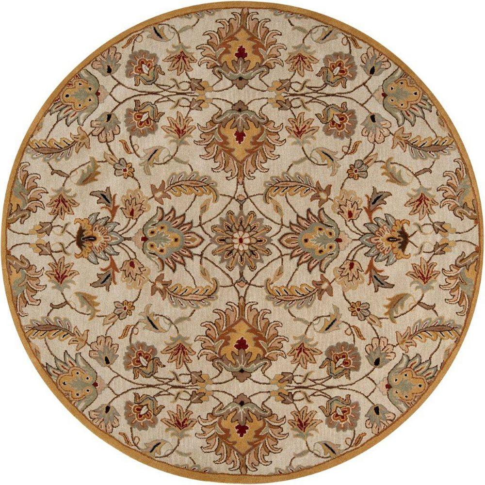 Artistic Weavers Carpette d'intérieur, 8 pi x 8 pi, style transitionnel, ronde, or Calimesa