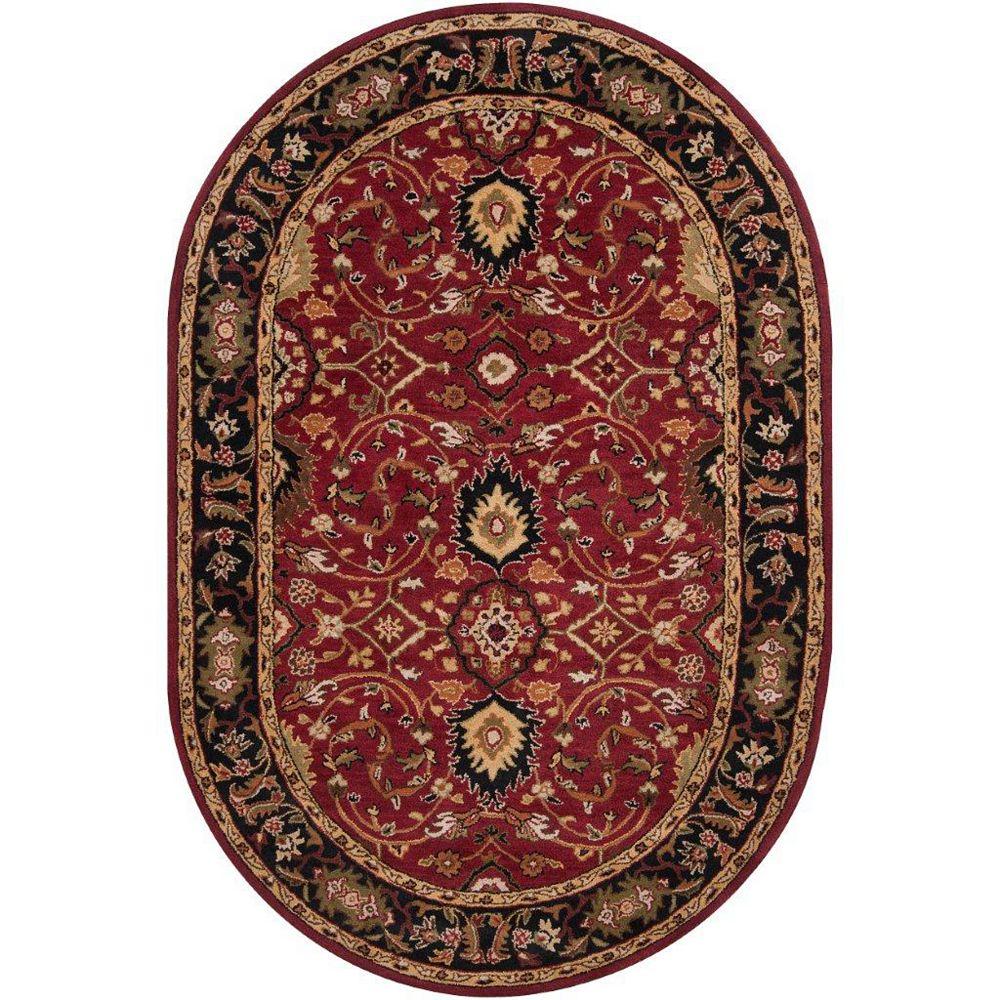 Artistic Weavers Carpette d'intérieur, 6 pi x 9 pi, style traditionnel, ovale, rouge Calistoga