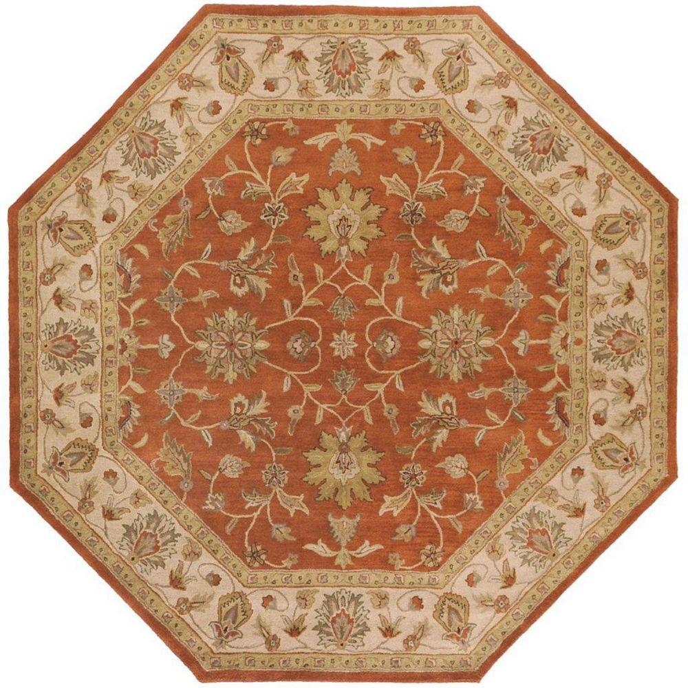 Artistic Weavers Paillet Orange 8 ft. x 8 ft. Indoor Traditional Octagonal Area Rug