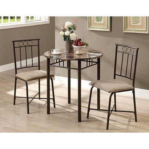 Dining Set - 3-Pieces Set / Cappuccino Marble / Bronze Metal