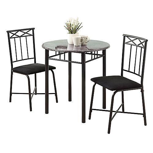 Dining Set - 3-Pieces Set / Grey Marble / Charcoal Metal