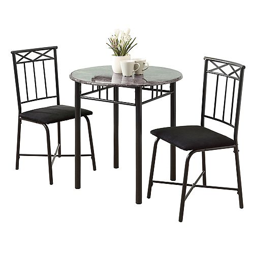 Dining Set - 3-Pieces Set / Grey Marble / Charcoal Metal