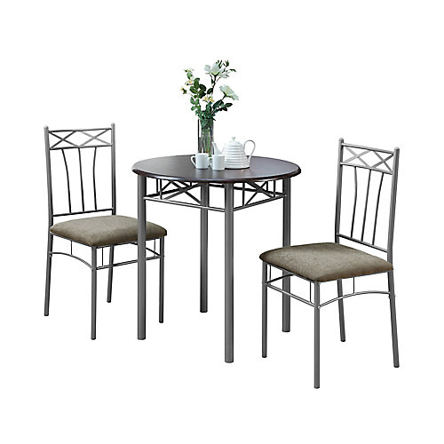3-Piece Dining Set in Cappuccino & Silver