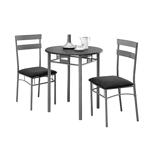 3-Piece Dining Set in Black & Silver