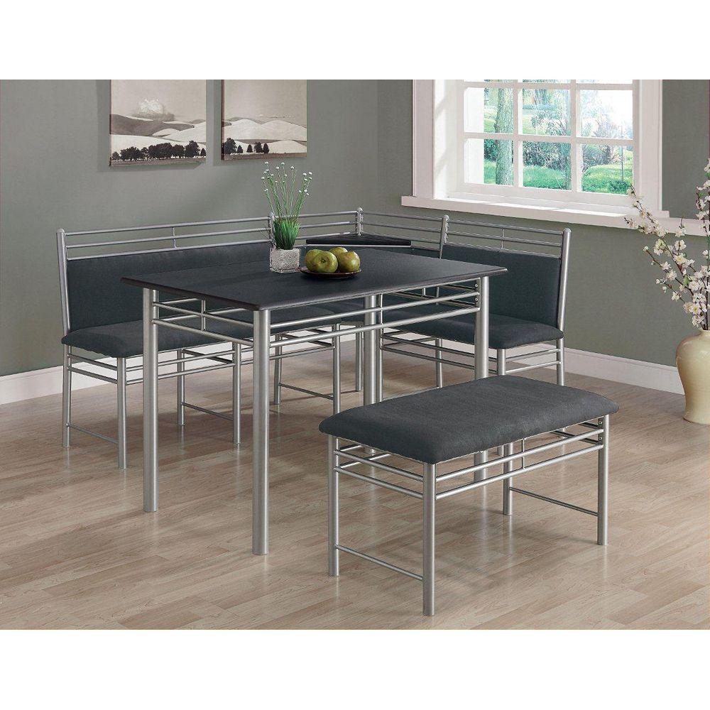 Monarch Specialties Black / Silver Metal Corner 3-Piece Dining Set
