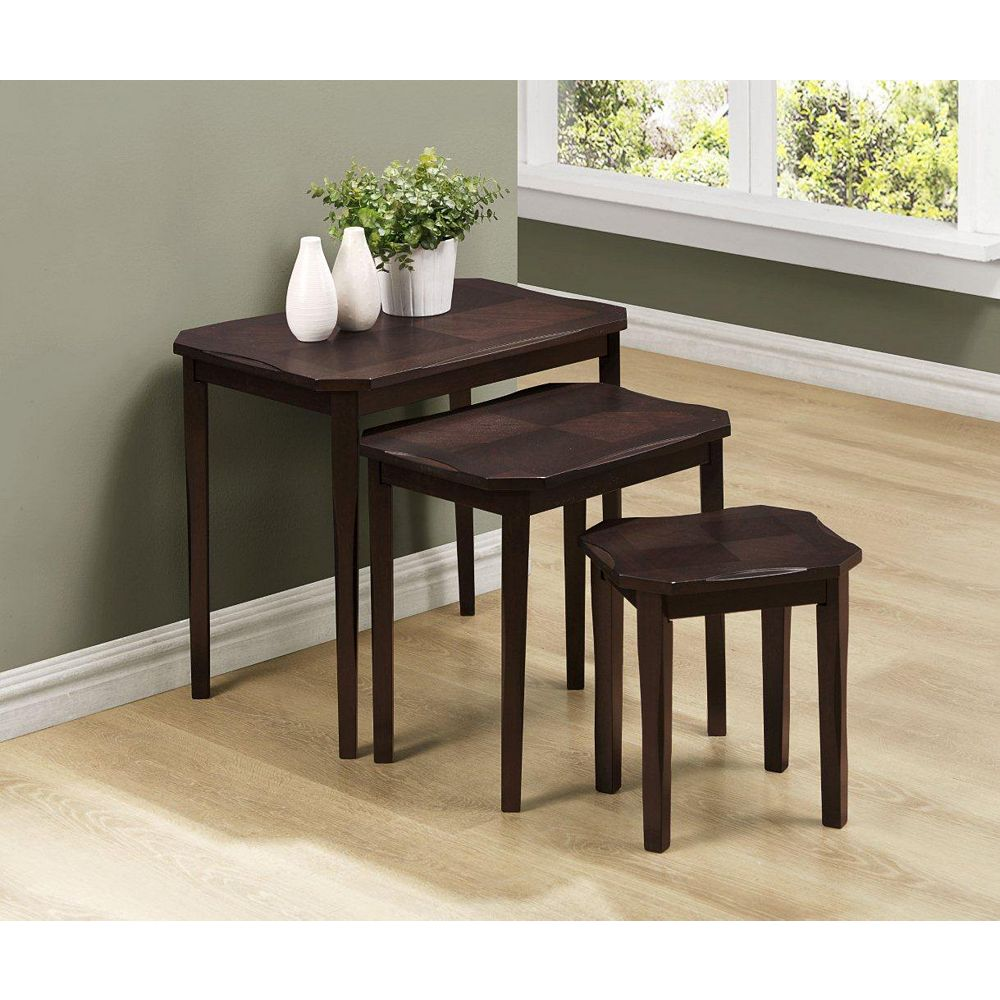 Monarch Specialties Nesting Table - 3-Piece Set / Cappuccino Cherry Veneer