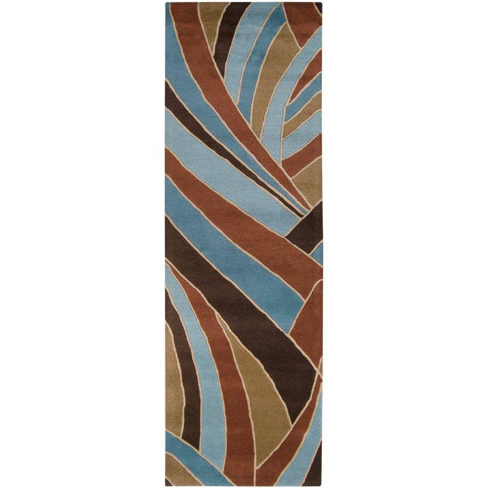 Artistic Weavers Tapis de passage d'intérieur, 3 pi x 12 pi, style contemporain, bleu Querrien