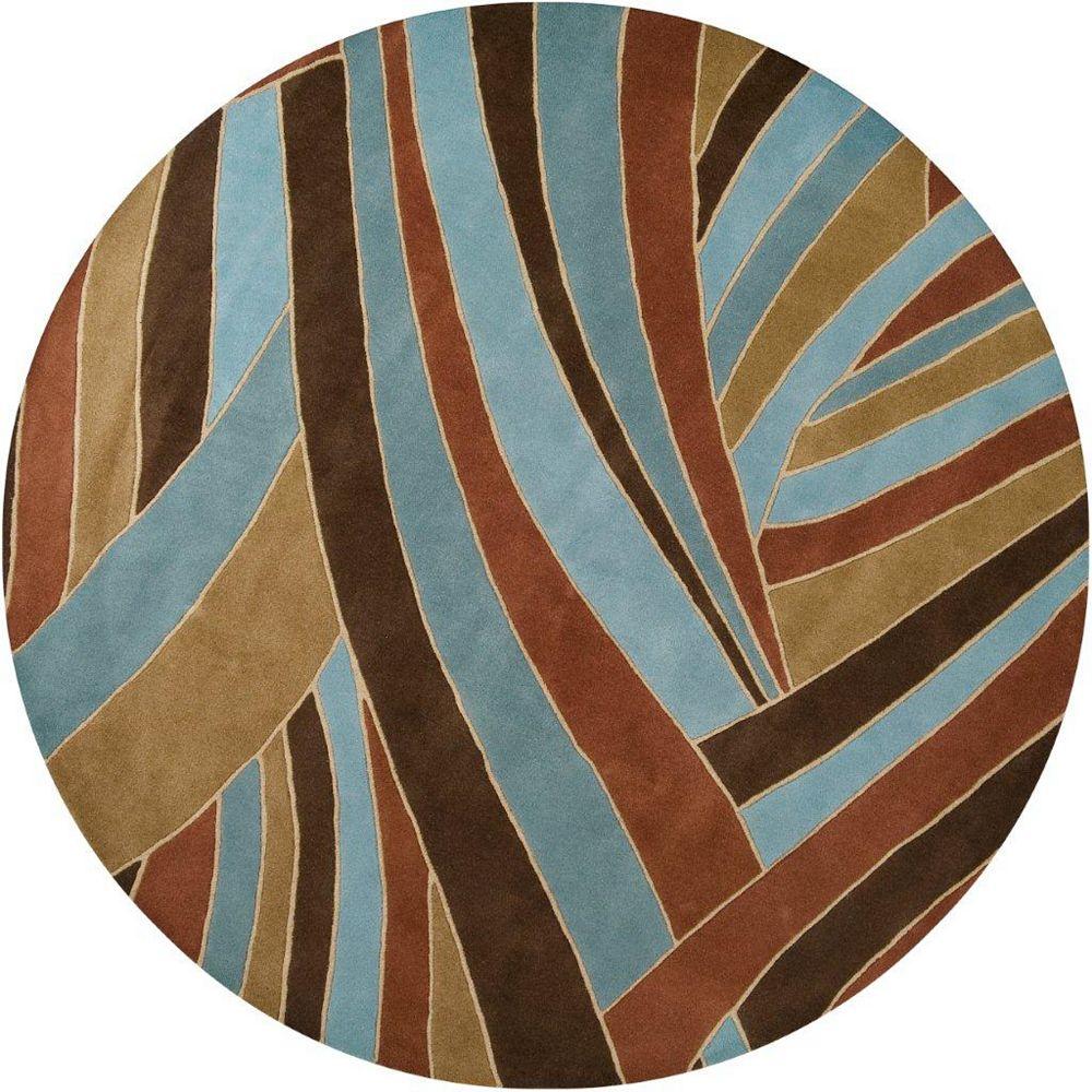Artistic Weavers Carpette d'intérieur, 8 pi x 8 pi, style contemporain, ronde, bleu Querrien