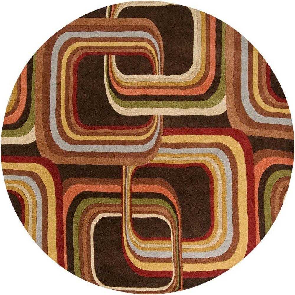 Artistic Weavers Rai Brown 4 ft. x 4 ft. Indoor Contemporary Round Area Rug