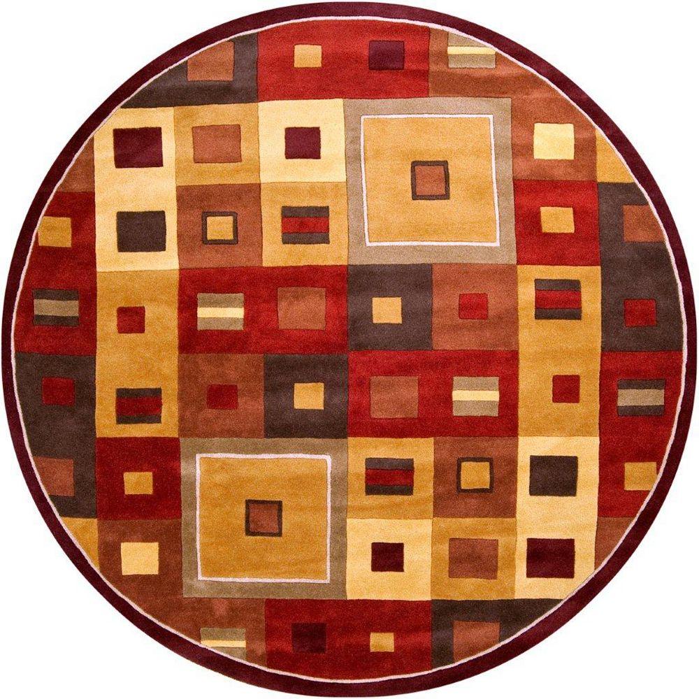Artistic Weavers Carpette d'intérieur, 9 pi 9 po x 9 pi 9 po, style contemporain, ronde, brun Ramatuelle