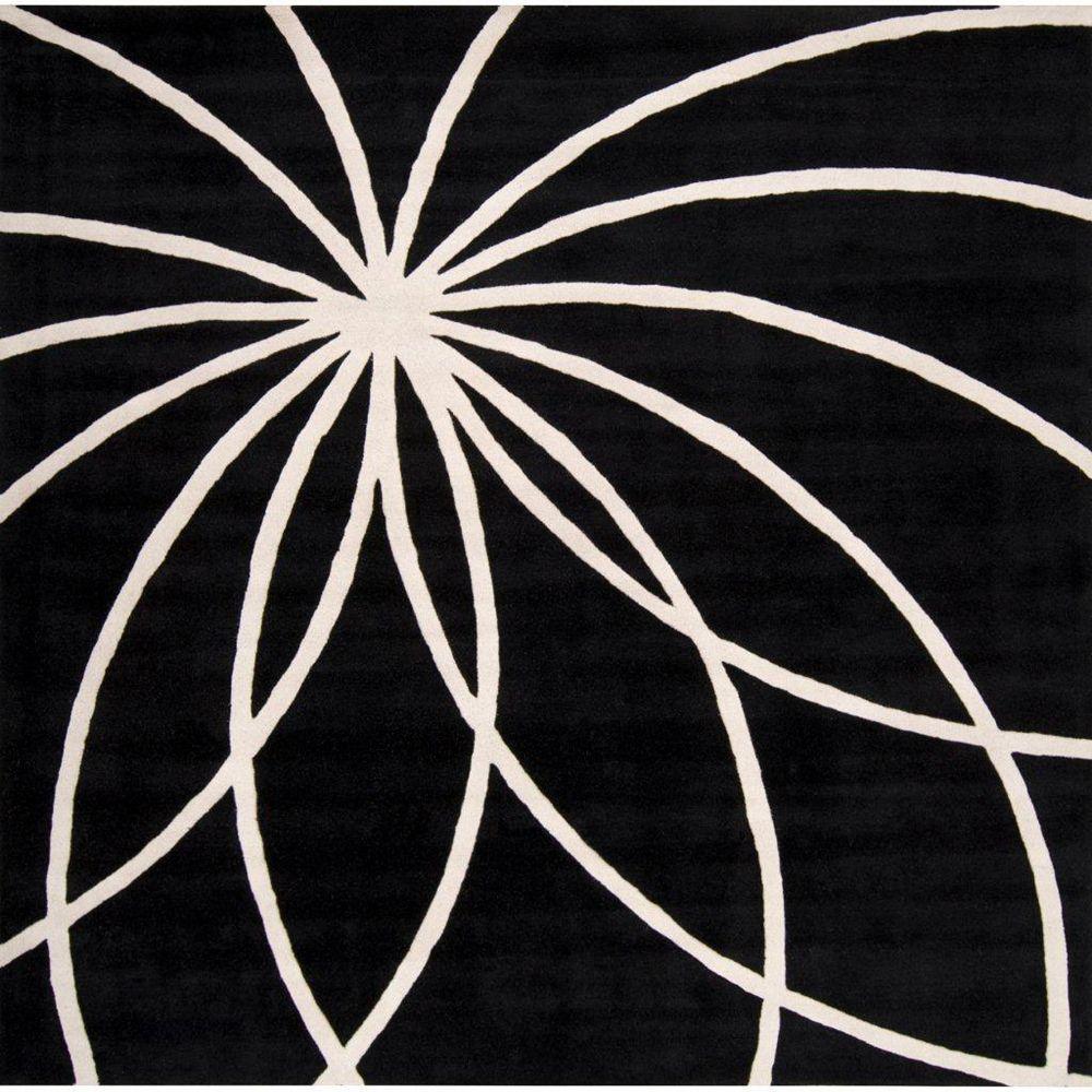 Artistic Weavers Rambouillet Black 4 ft. x 4 ft. Indoor Contemporary Square Area Rug