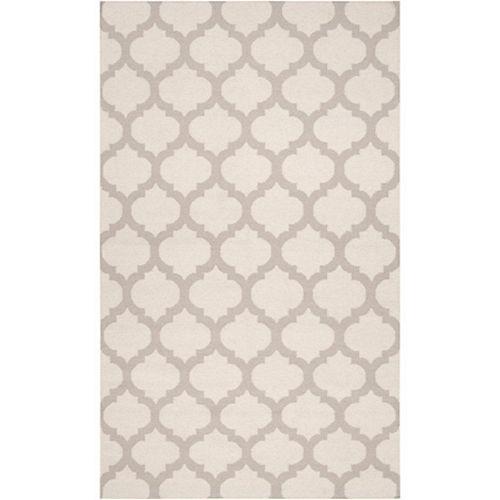 Carpette d'intérieur, 8 pi x 11 pi, style contemporain, rectangulaire, blanc cassé Saffre