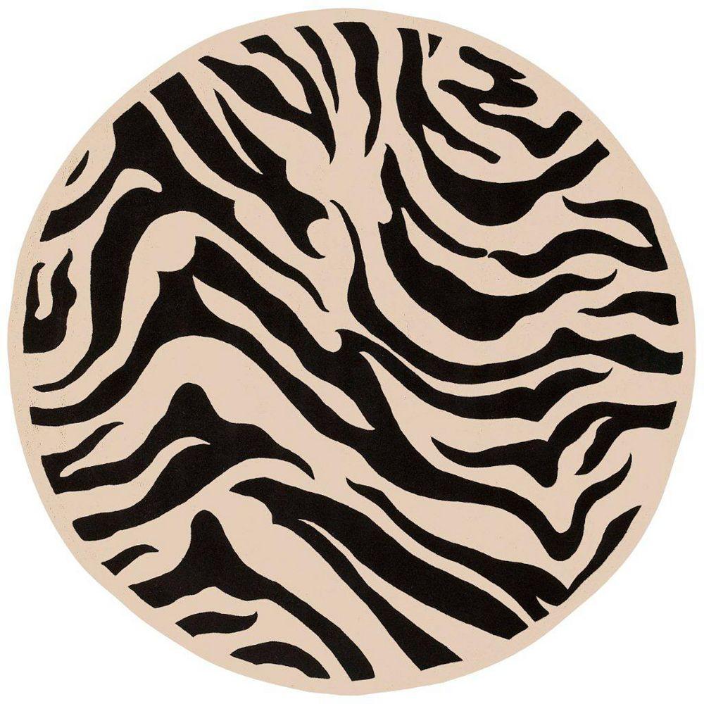Artistic Weavers Carpette d'intérieur, 7 pi 9 po x 7 pi 9 po, style contemporain, ronde, noir Talange