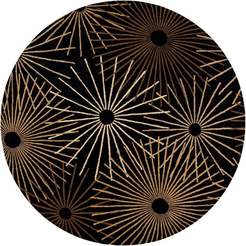 Artistic Weavers Rannee Black 6 ft. x 6 ft. Indoor Contemporary Round Area Rug