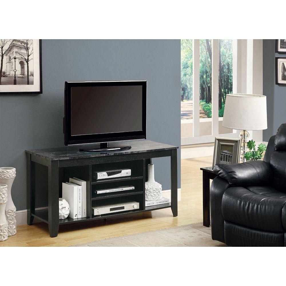 """Monarch Specialties Meuble Tv - 48""""L / Noir / Dessus Marbre Gris"""