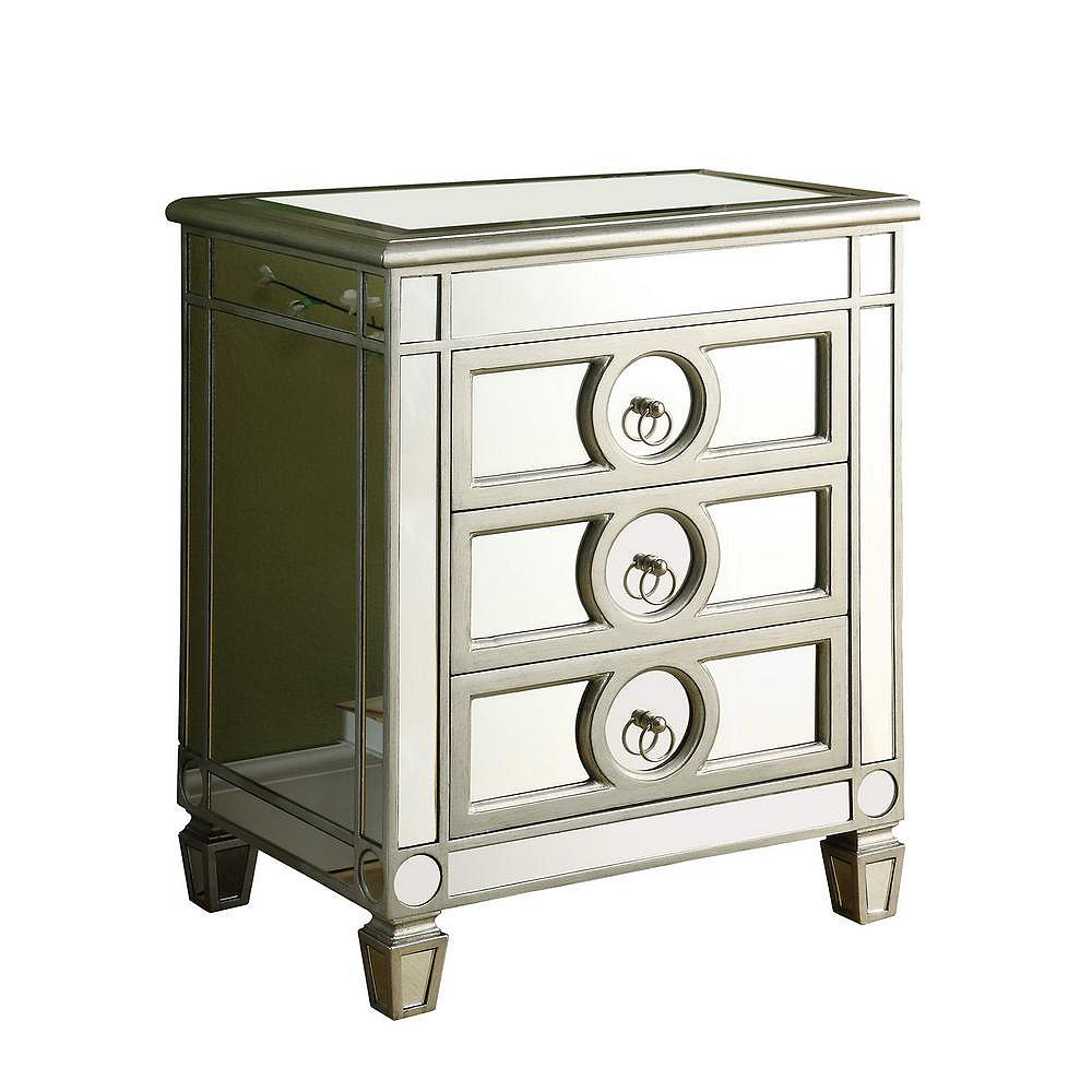 Monarch Specialties Mirrored Accent Chest Side Table in Brushed Silver