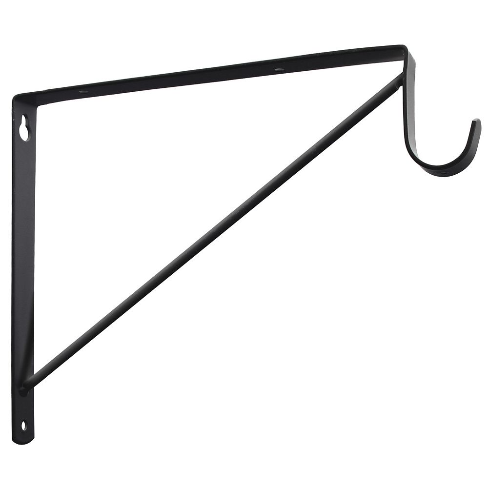 Everbilt 9-3/4-inch X12-5/8-inch Black Shelf Bracket Pole Spt