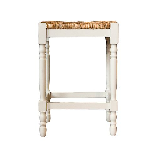 Antique Solid Wood White Contemporary Backless Armless Bar Stool with White Wicker Seat