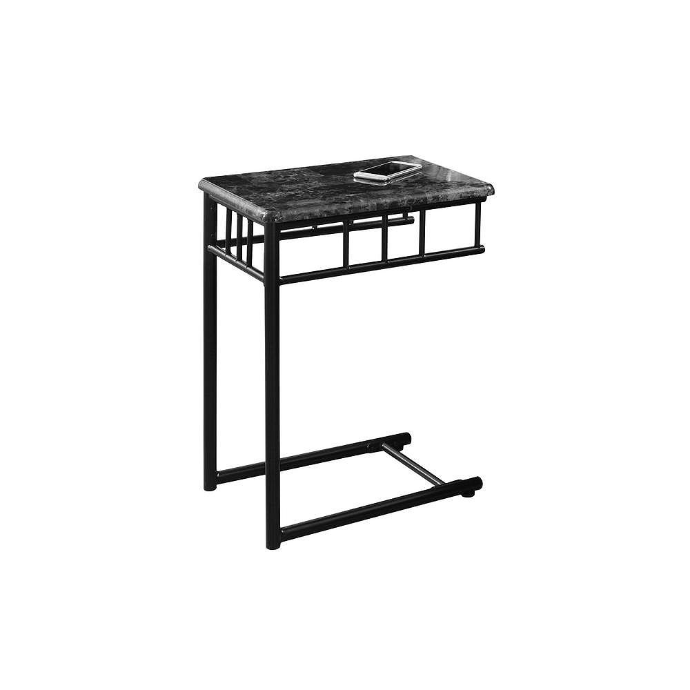 Monarch Specialties Accent Table - Grey Marble / Charcoal Metal