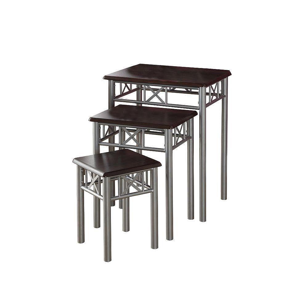 Monarch Specialties Cappuccino / Silver Metal 3-Piece Nesting Table Set