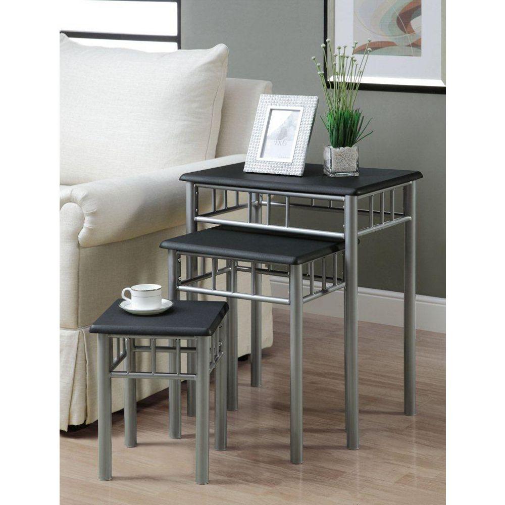 Monarch Specialties Black / Silver Metal 3-Piece Nesting Table Set