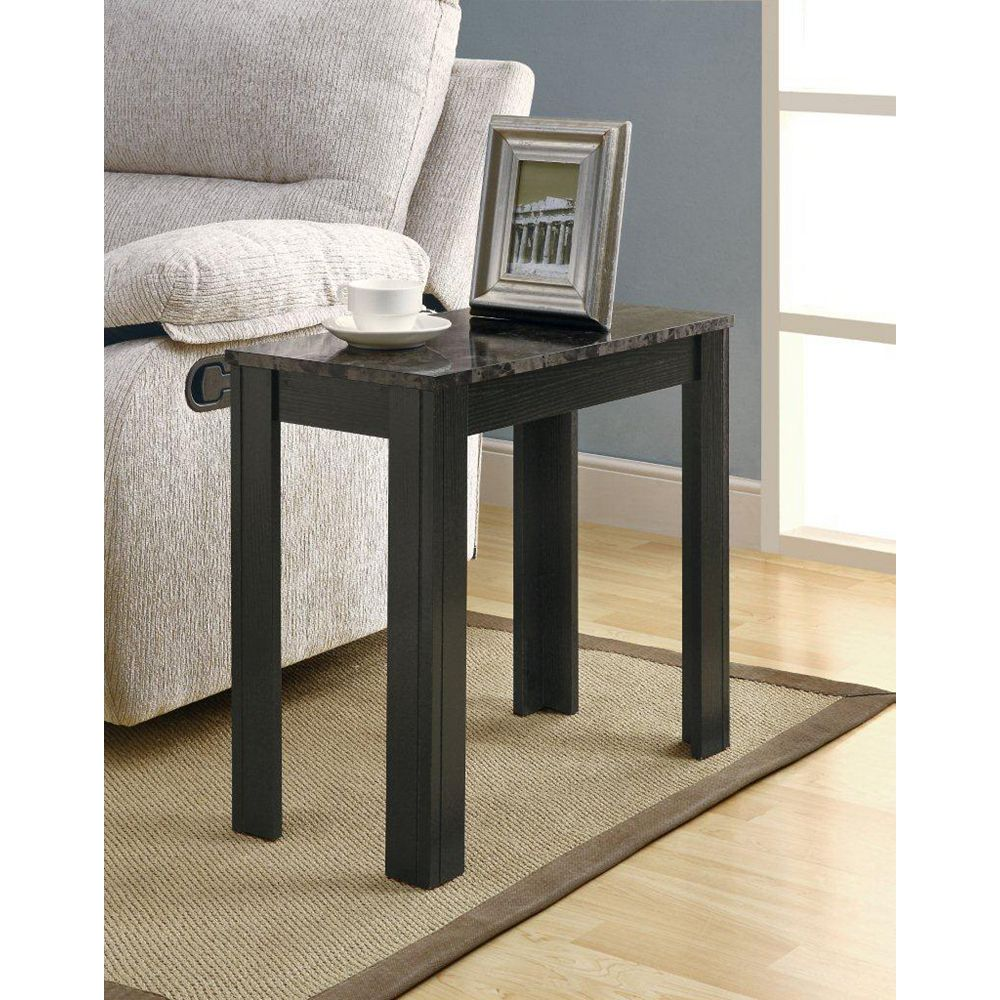 Monarch Specialties Grey Marble Top Accent Table in Black