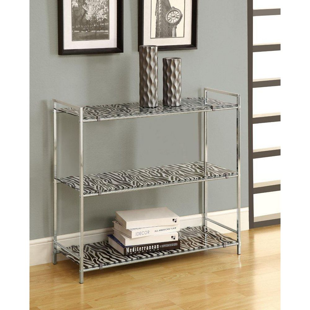 Monarch Specialties Chrome Metal 30 Inch H Etagere with Zebra Tempered Glass
