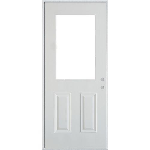 37.375 inch x 82.375 inch 1/2 Lite 2-Panel Prefinished White Left-Hand Inswing Steel Prehung Front Door