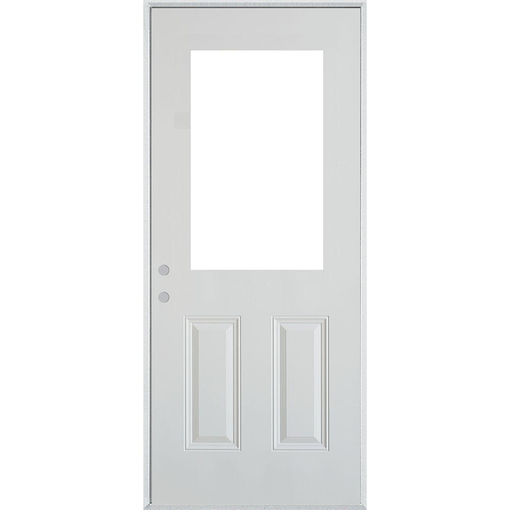 STANLEY Doors 37.375 inch x 82.375 inch 1/2 Lite 2-Panel Prefinished White Right-Hand Inswing Steel Prehung Front Door