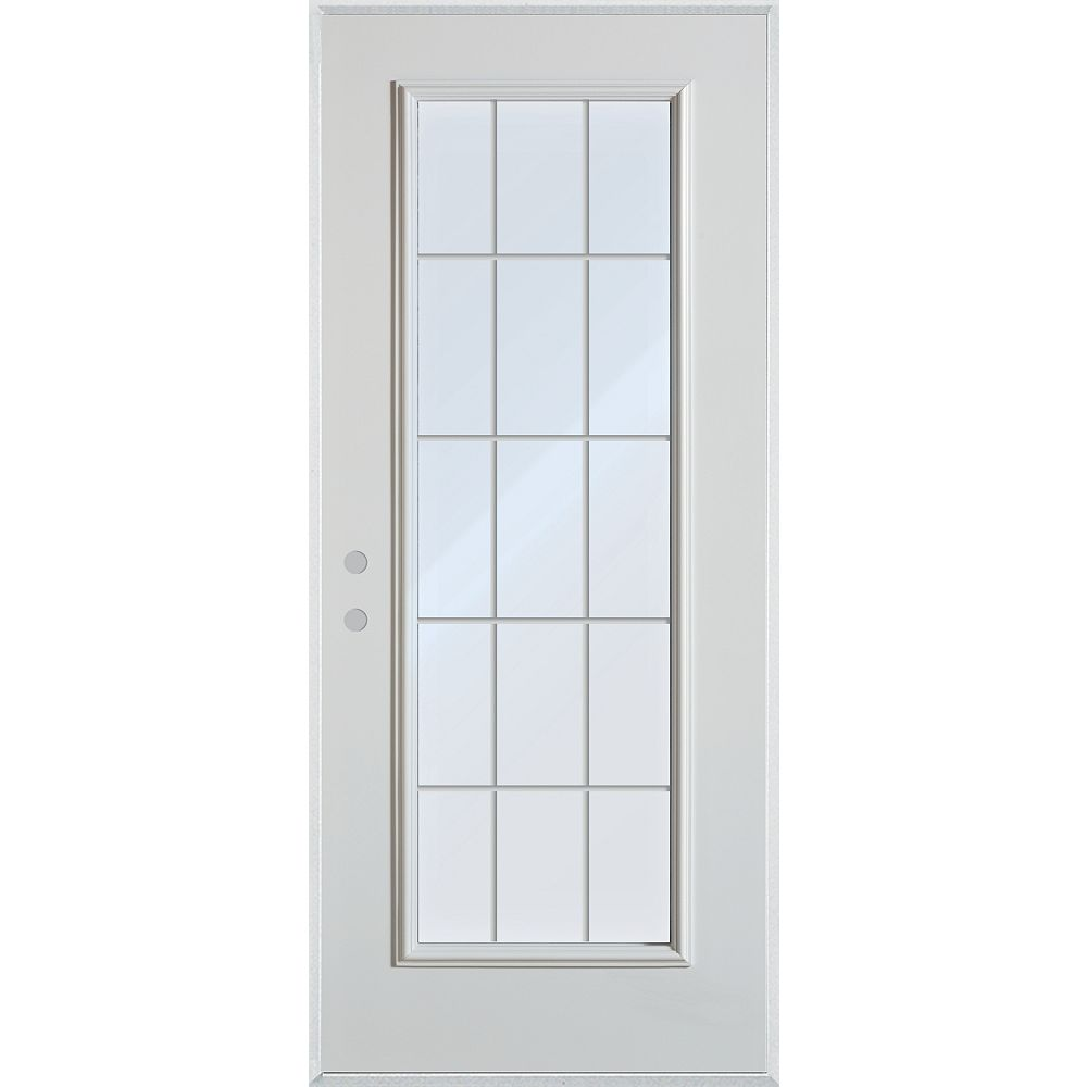 STANLEY Doors 35.375 inch x 82.375 inch Clear Full Lite Prefinished White Right-Hand Inswing Steel Prehung Front Door with 15-Lite Internal Grill - ENERGY STAR®