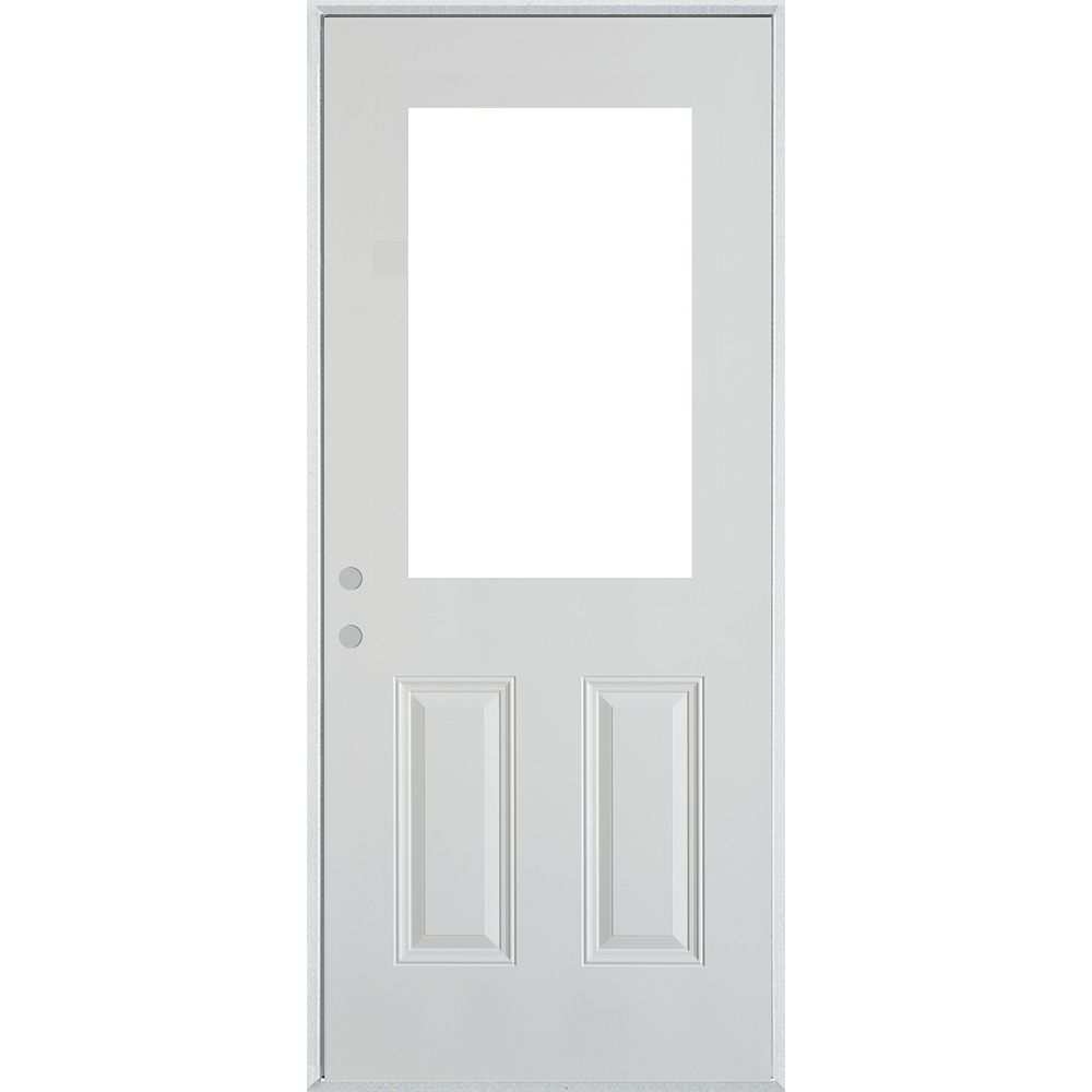 STANLEY Doors 35.375 inch x 82.375 inch 1/2 Lite 2-Panel Prefinished White Right-Hand Inswing Cladded Steel Prehung Front Door