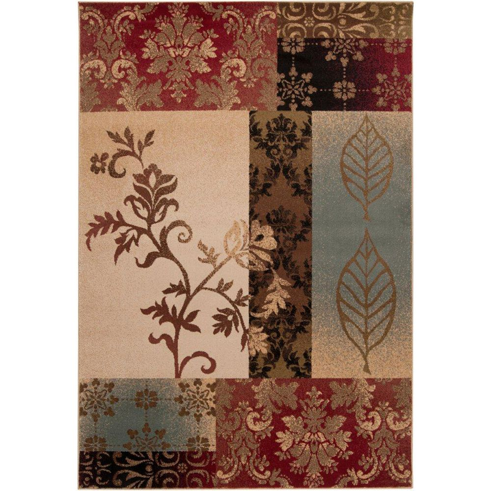 Artistic Weavers Wetaskiwin Tea Leaves Red 5 ft. 3-inch x 7 ft. 6-inch Indoor Transitional Rectangular Area Rug
