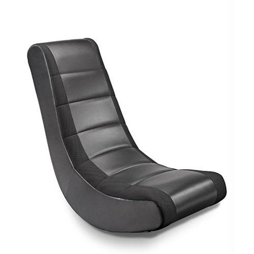 Video Rocker Leather Rocking Chair in Black