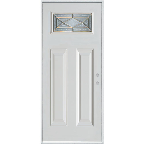 37.375 inch x 82.375 inch Queen Anne Brass Rectangular Lite 2-Panel Prefinished White Left-Hand Inswing Steel Prehung Front Door - ENERGY STAR®