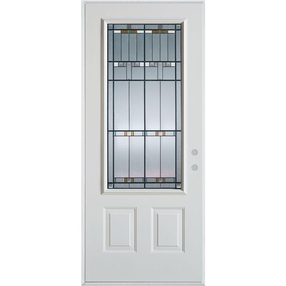 STANLEY Doors 37.375 inch x 82.375 inch Chicago Patina 3/4 Lite 2-Panel Prefinished White Left-Hand Inswing Steel Prehung Front Door - ENERGY STAR®