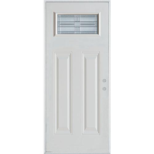 37.375 inch x 82.375 inch Seattle Zinc Rectangular Lite 2-Panel Prefinished White Left-Hand Inswing Steel Prehung Front Door
