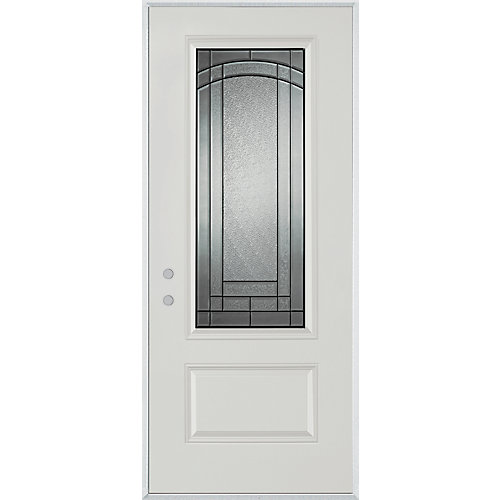 37.375 inch x 82.375 inch Chatham Patina 3/4 Lite 1-Panel Prefinished White Right-Hand Inswing Steel Prehung Front Door - ENERGY STAR®