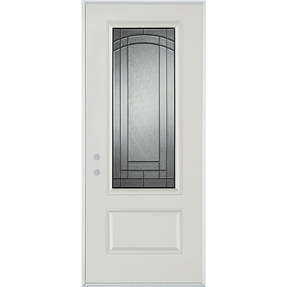 STANLEY Doors 37.375 inch x 82.375 inch Chatham Patina 3/4 Lite 1-Panel Prefinished White Right-Hand Inswing Steel Prehung Front Door - ENERGY STAR®