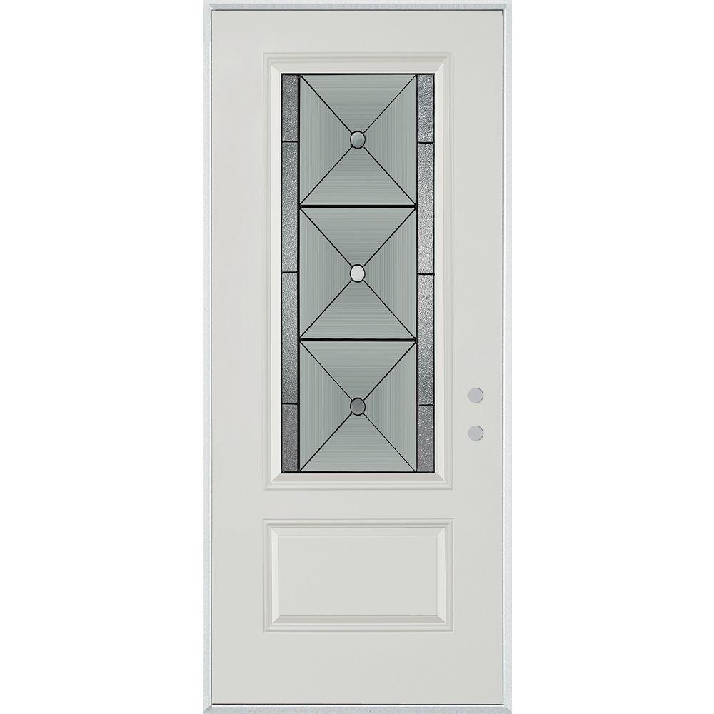 STANLEY Doors 37.375 inch x 82.375 inch Bellochio Patina 3/4 Lite 1-Panel Prefinished White Left-Hand Inswing Steel Prehung Front Door - ENERGY STAR®