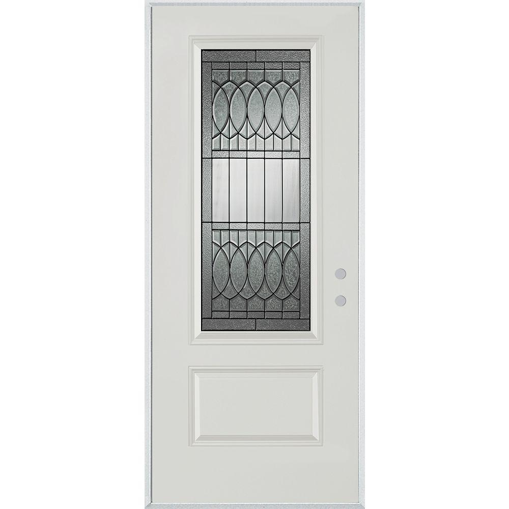 STANLEY Doors Porte dentrée en acier peint, munie d'une panneau et dun 3/4  verre - ENERGY STAR®