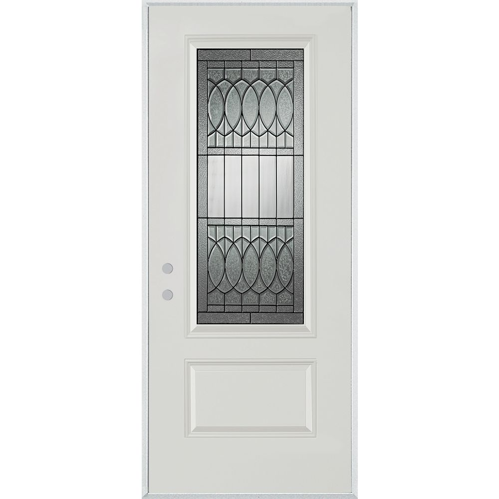 STANLEY Doors 37.375 inch x 82.375 inch Nightingale Patina 3/4 Lite 1-Panel Prefinished White Right-Hand Inswing Steel Prehung Front Door - ENERGY STAR®