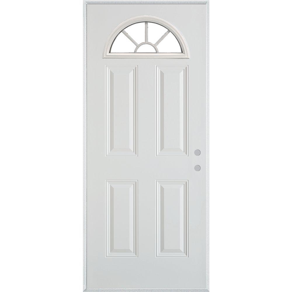 STANLEY Doors Porte dentrée en acier peint à quatre panneaux et à vitre éventail à quatre carreaux - ENERGY STAR®