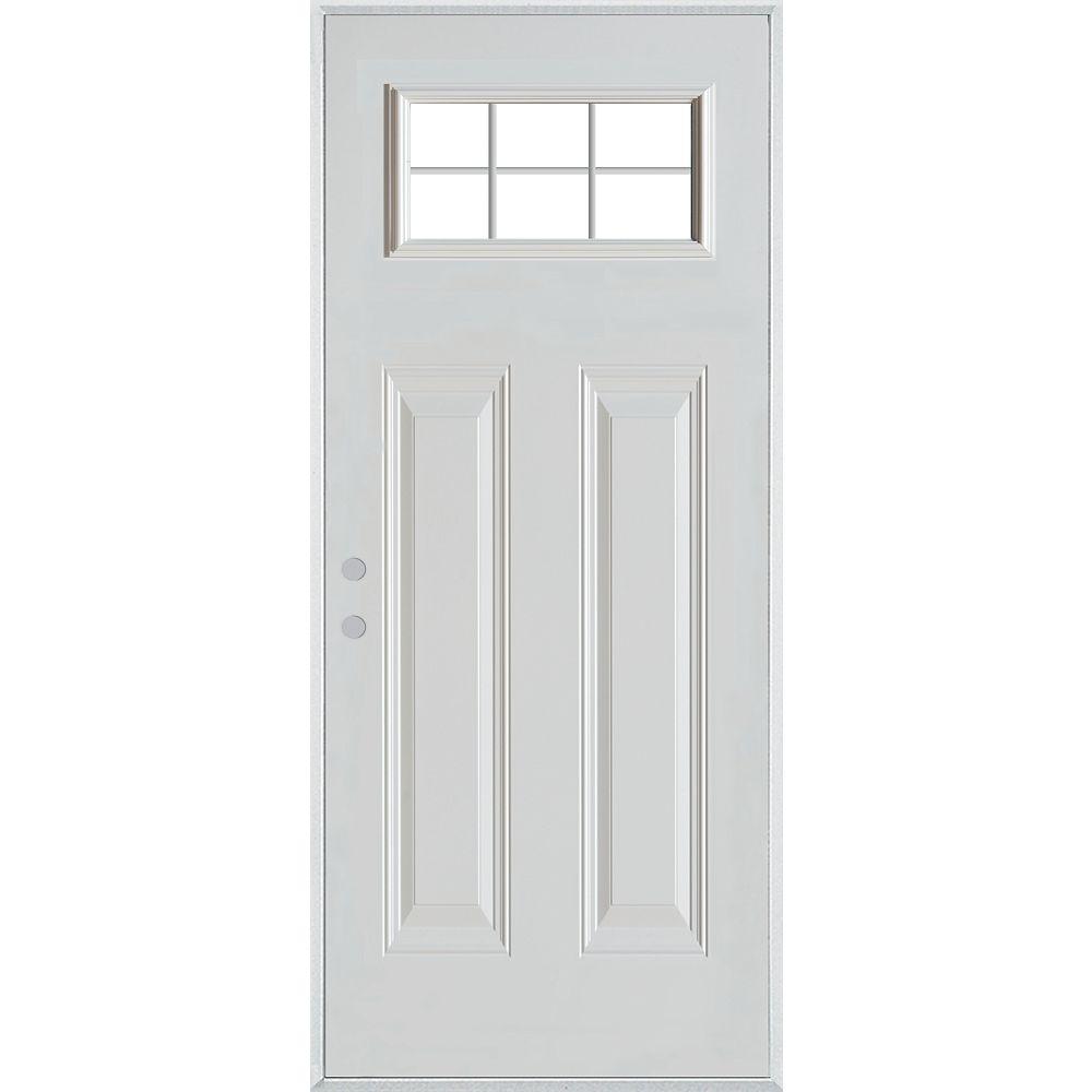 STANLEY Doors Porte dentrée en acier peint à deux panneaux et à vitre interne à six carreaux