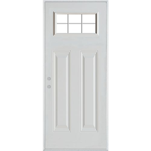 37.375 inch x 82.375 inch Clear 1/2 Lite 2-Panel Prefinished White Right-Hand Inswing Steel Prehung Front Door