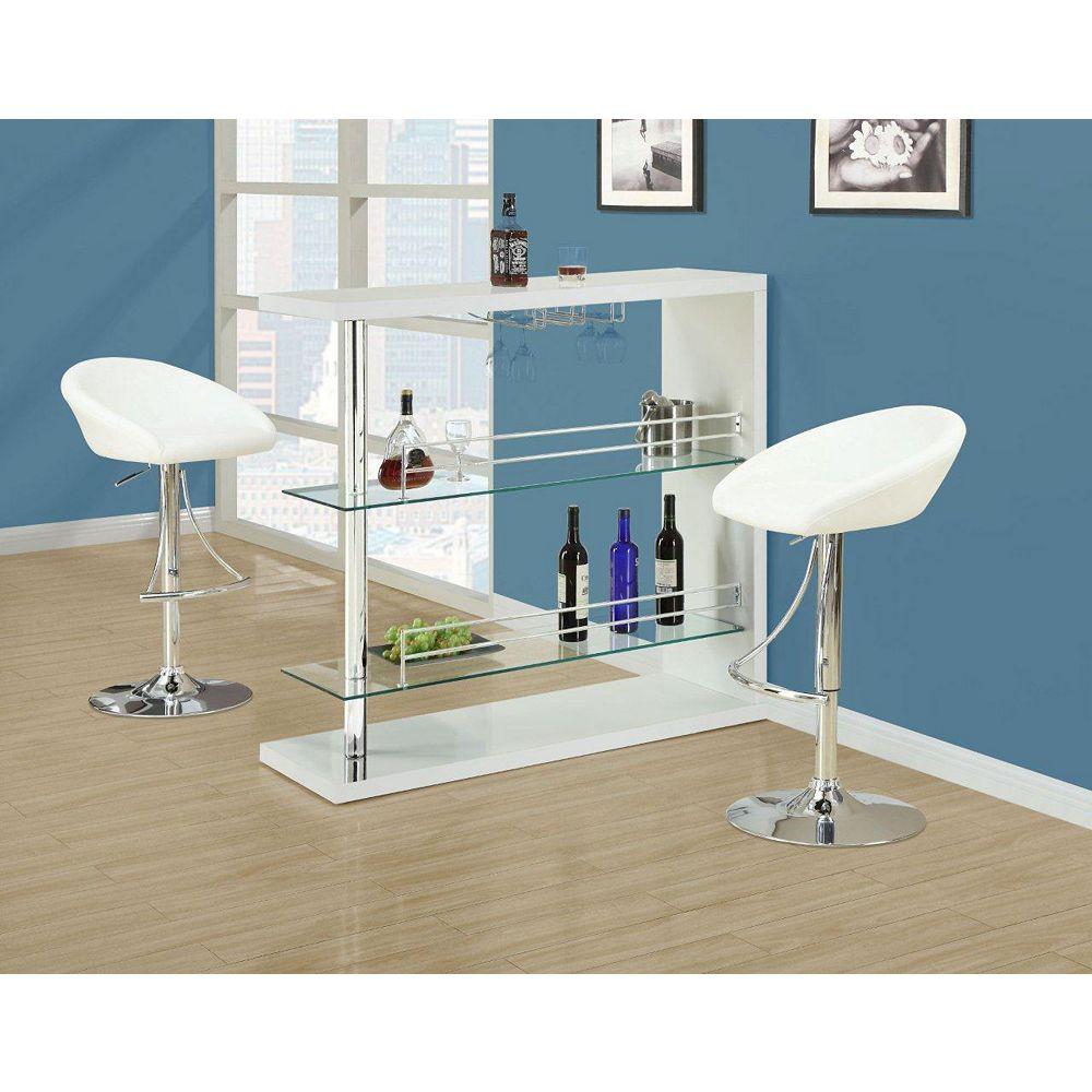 "Monarch Specialties Home Bar - 48""L / White Glossy / Chrome Metal"