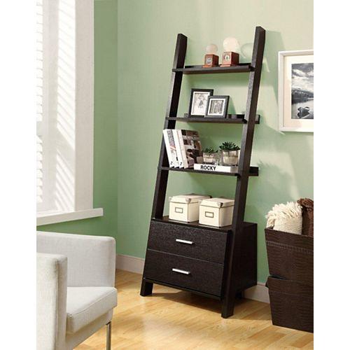 Monarch Specialties 24-inch x 69-inch 4-Shelf 2-Drawer Ladder Shelf in Cappuccino